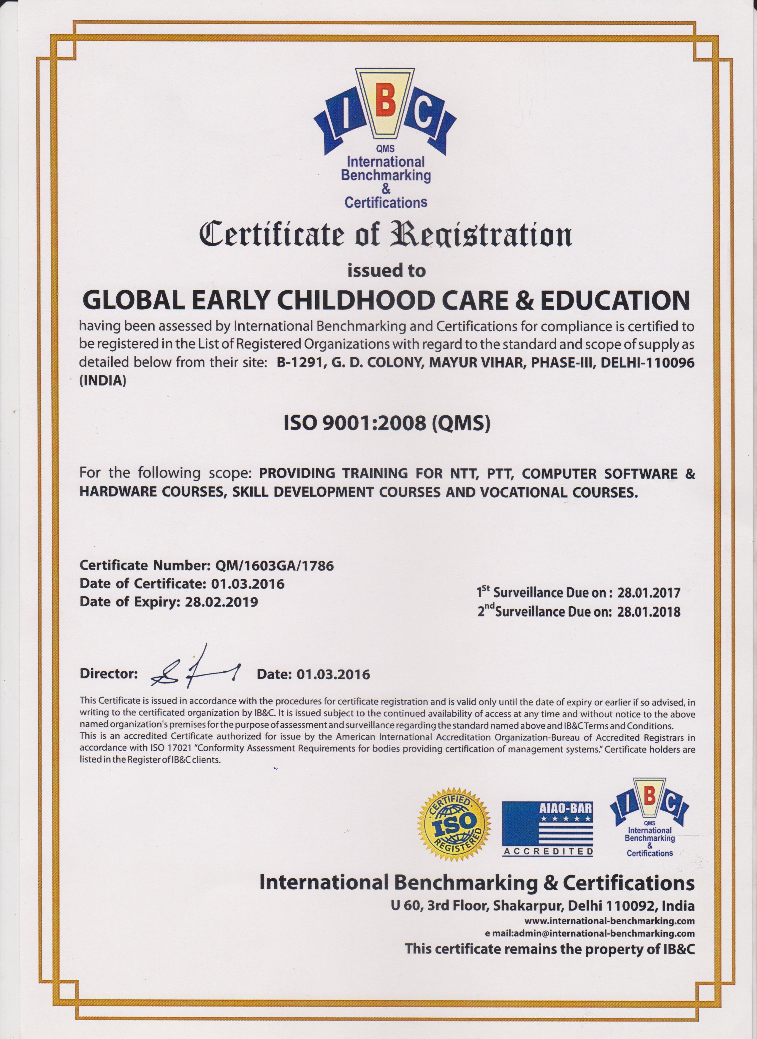 Enrolment verification global early childhood care education iso certification 1betcityfo Image collections